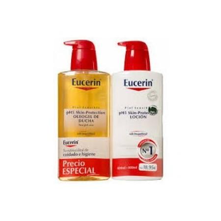 Pack Eucerin loción 400 ml + oleogel 400 ml.