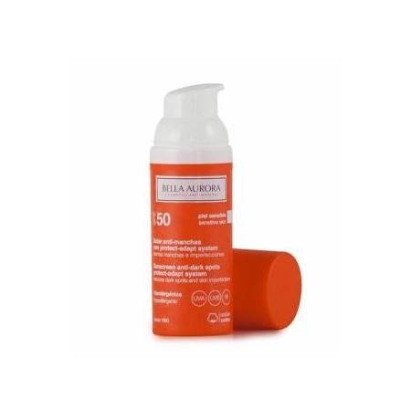Bella Aurora solar antimanchas SPF50 pieles sensibles 50 ml + REGALO jabón facial.